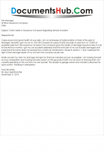 Claim Letter to Insurance Company Regarding Car Accident