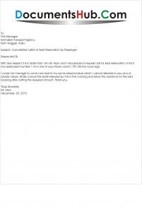 Cancellation Letter of Seat Reservation by Passenger