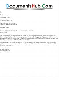 Letter for Using Venue for Multi-Tasking Activities
