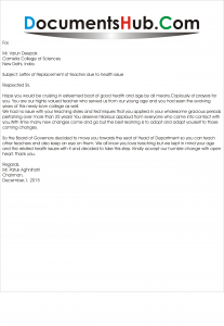 Replacement Letter of Teacher due to Health Issue