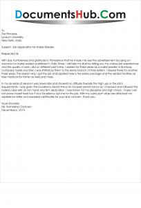 Sample Job Application for Hostel Warden