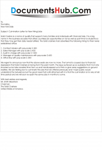 Sample Culmination Letter Format of New Hiring