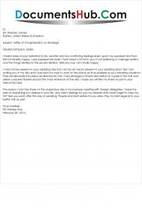 Sample Marriage Congratulation Letter