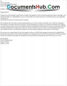 Congratulation Letter for Business Anniversary - DocumentsHub Com