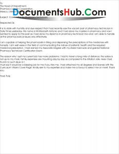 Cover Letter for Pharmacy Technician