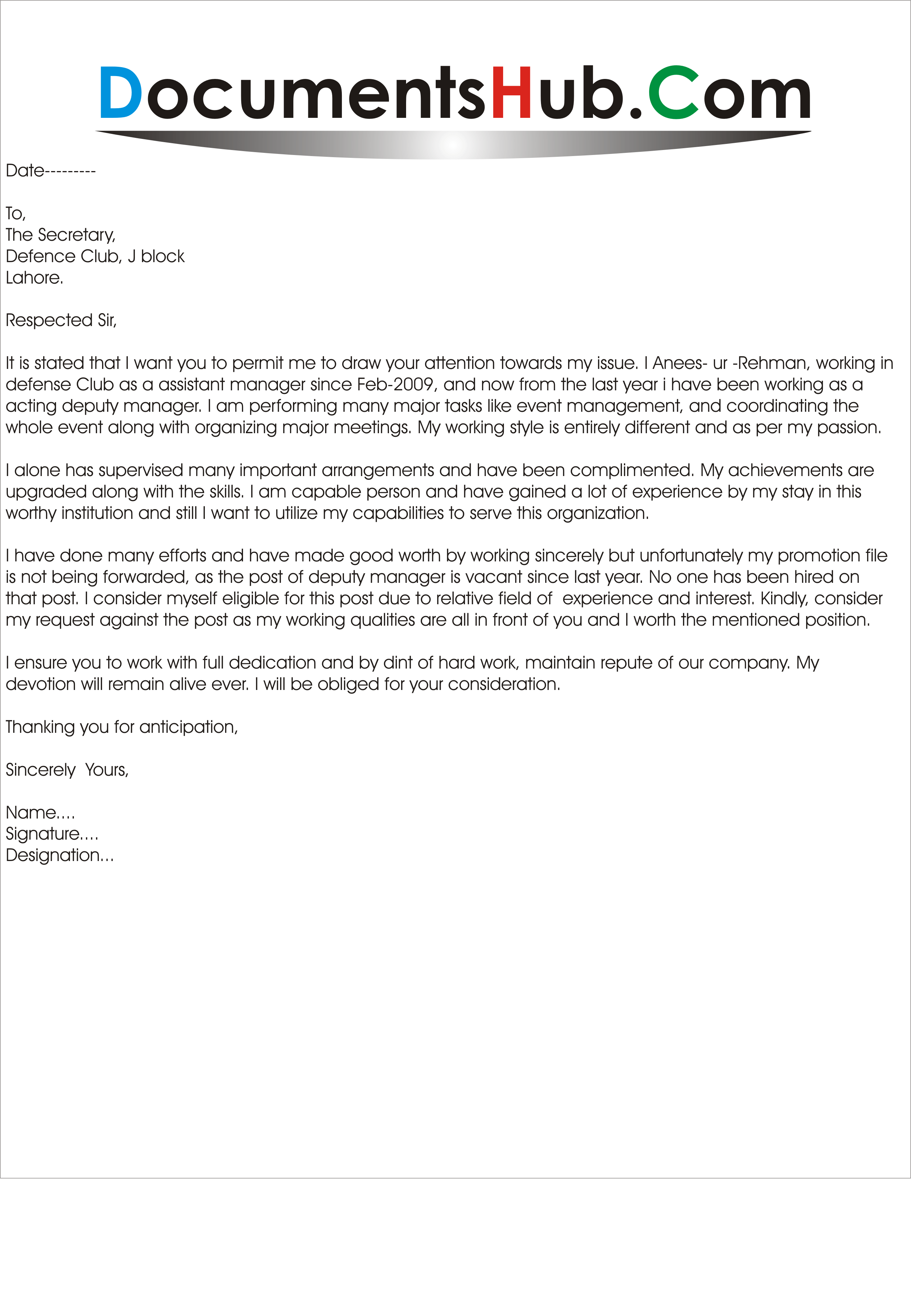 requesting promotion letter