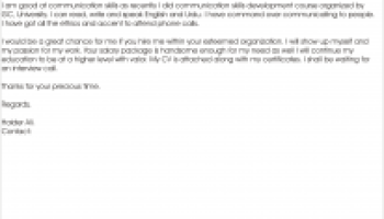 Cover letter for the post of driver