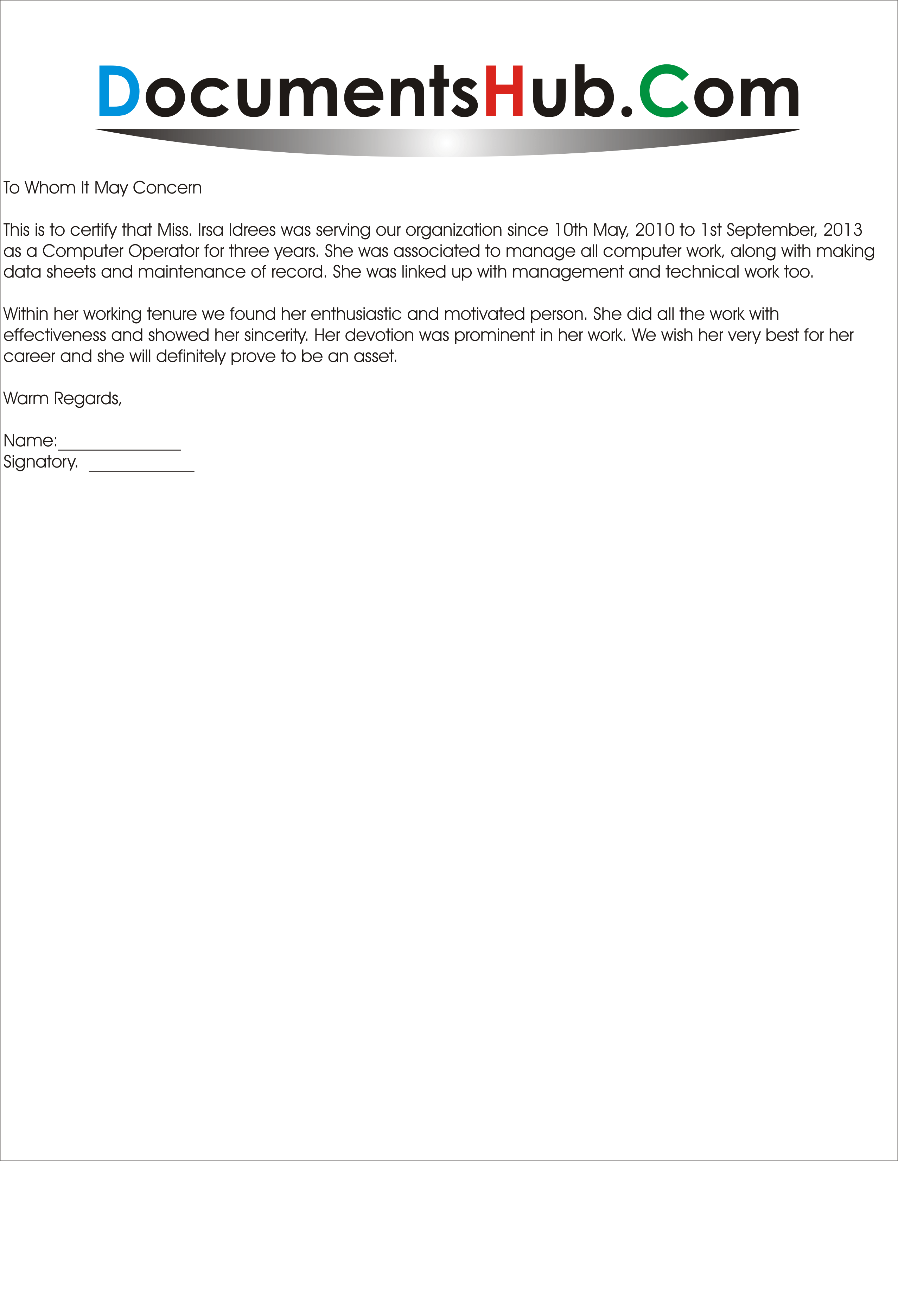 how to work experience letter