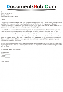 Cover Letter for Computer Operator  DocumentsHubCom