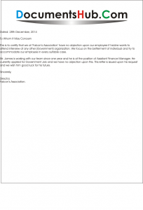 NOC Letter Format for Employee | DocumentsHub.Com