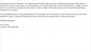 rejection letter for job offer