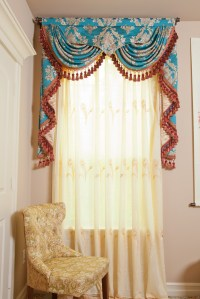 Blue Lantern Swag Pelmet Valances Curtain Drapes 50