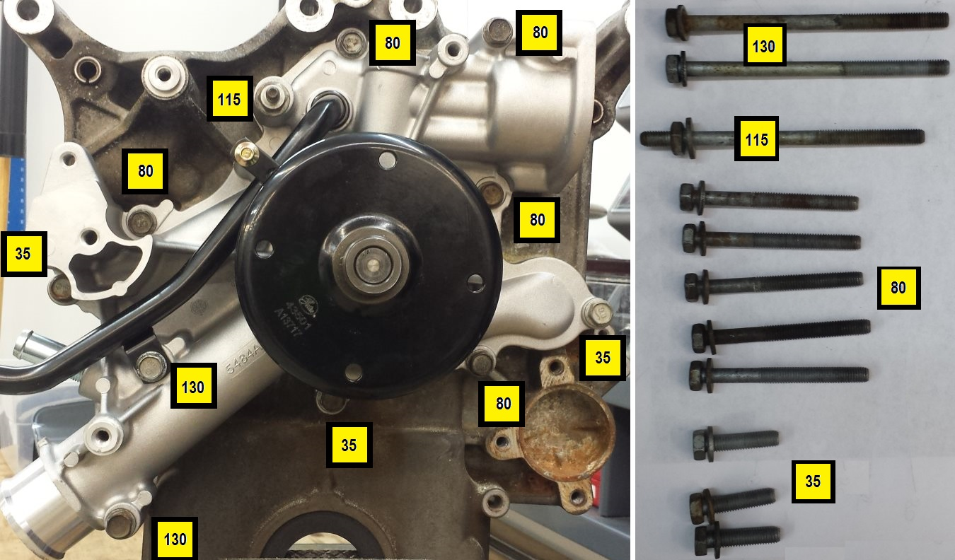 hight resolution of bolt placement on water pump hemi water pump bolt locations