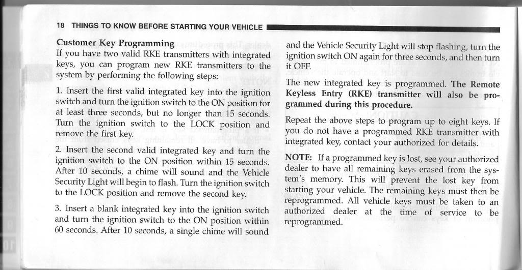 Early 2009 Dodge Ram Key self Programming. Class action