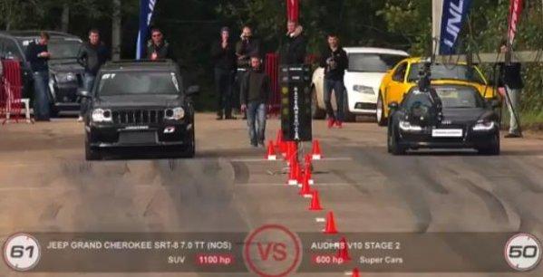 jeep srt racing audi r8 600