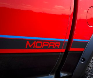 A special Mopar blue-and-black graphic stripe accents both sides of the Mopar '16, as well as the tailgate.