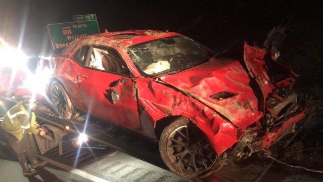 Wrecked Dodge Challenger SRT Hellcat