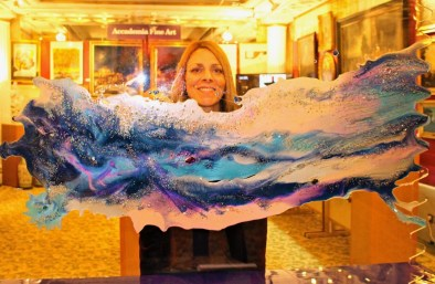 Dodo Newman with the jewellery artwork at the Hotel de Paris, Monaco