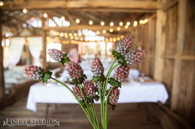 barn wedding reception with rustic decor