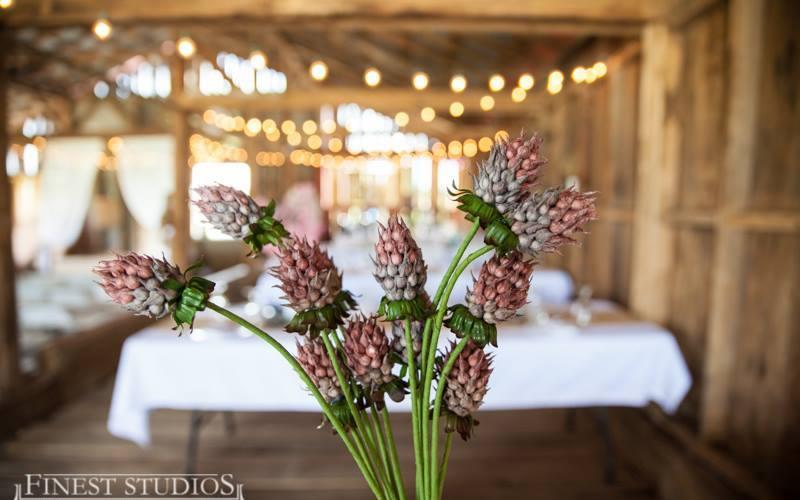barn wedding reception with rustic decor