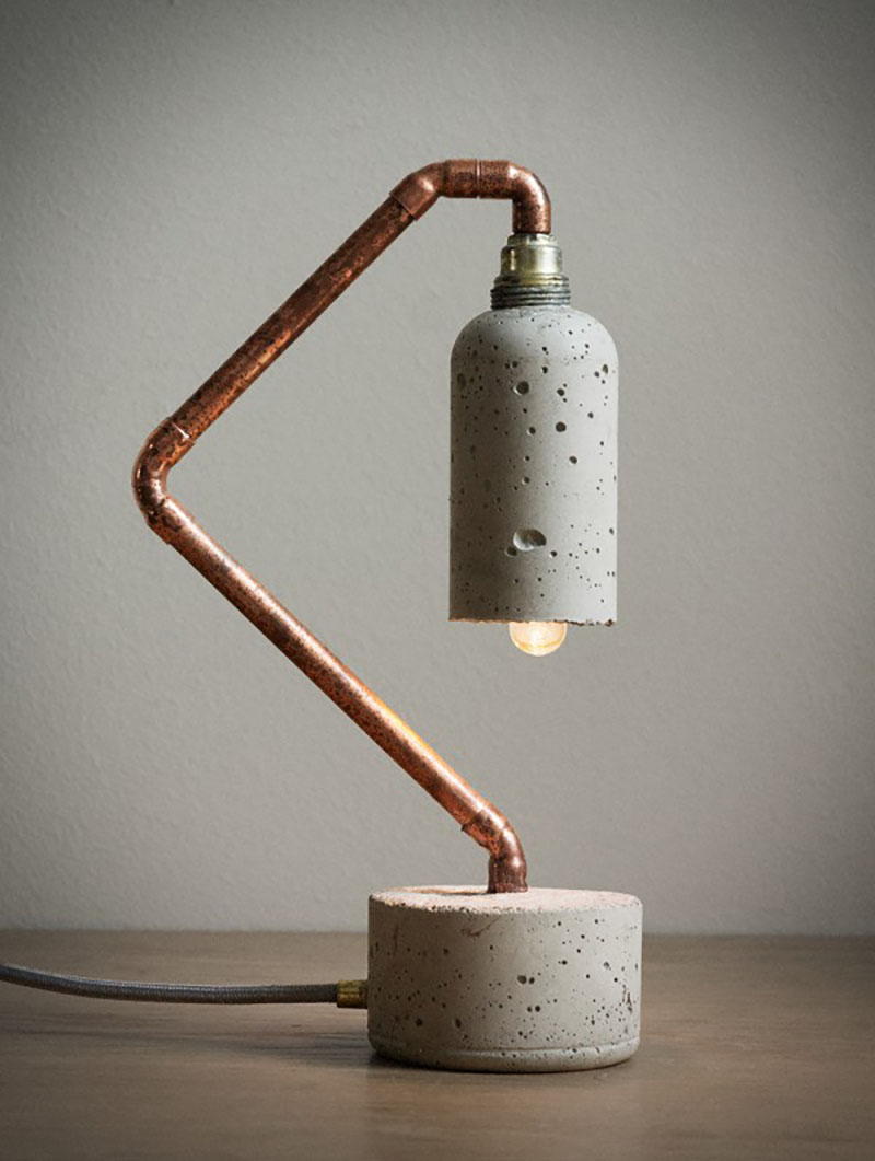 luminaria concreto cobre diy