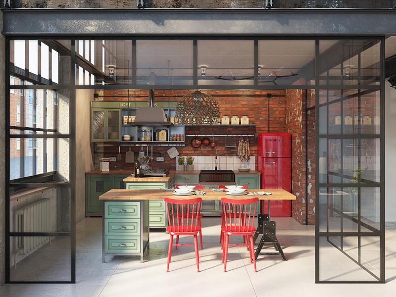 cozinha industrial vitral