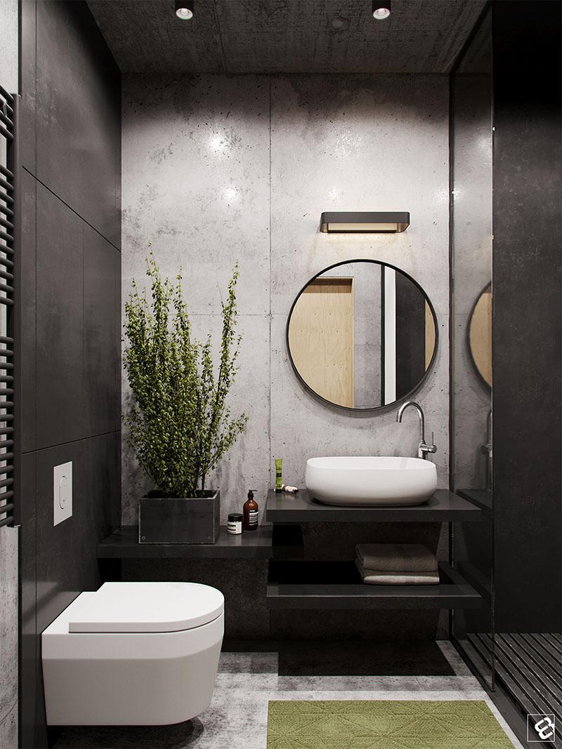 Loft industrial banheiro