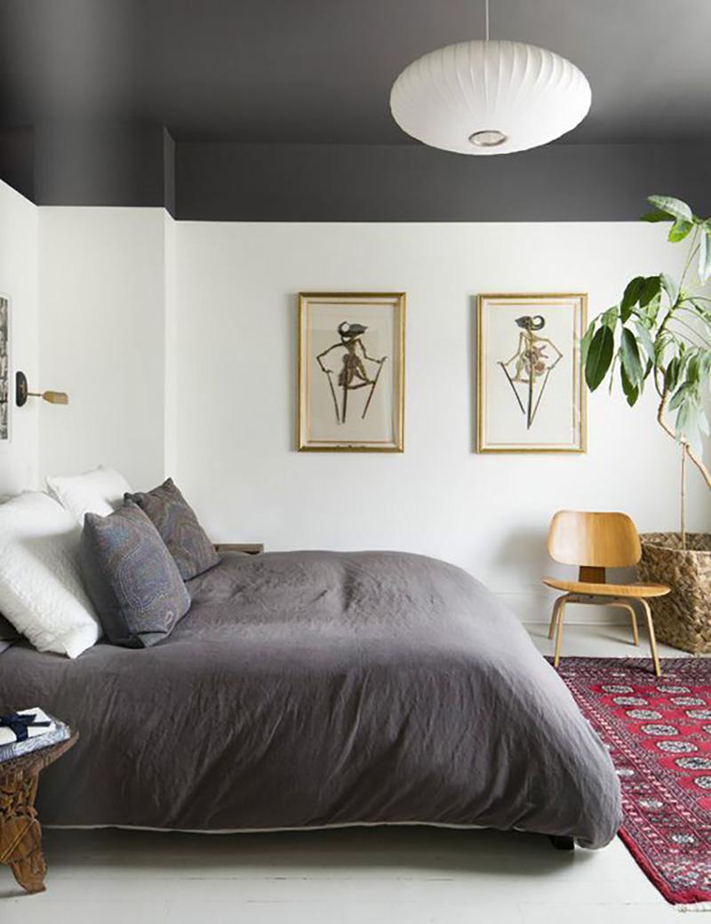 decoração teto preto no quarto