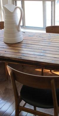 Reclaimed wood table. Old barn door + love = forever good ...