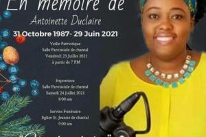 Les funérailles de la militante Antoinette Duclaire, prévues pour ce samedi