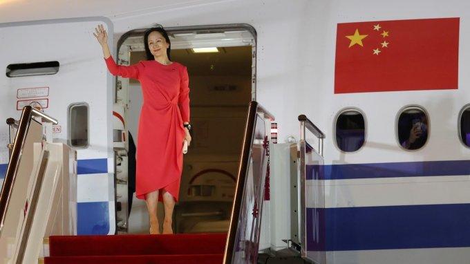 Meng Wanzhou, directrice financière de l'entreprise Huawei est de retour en Chine
