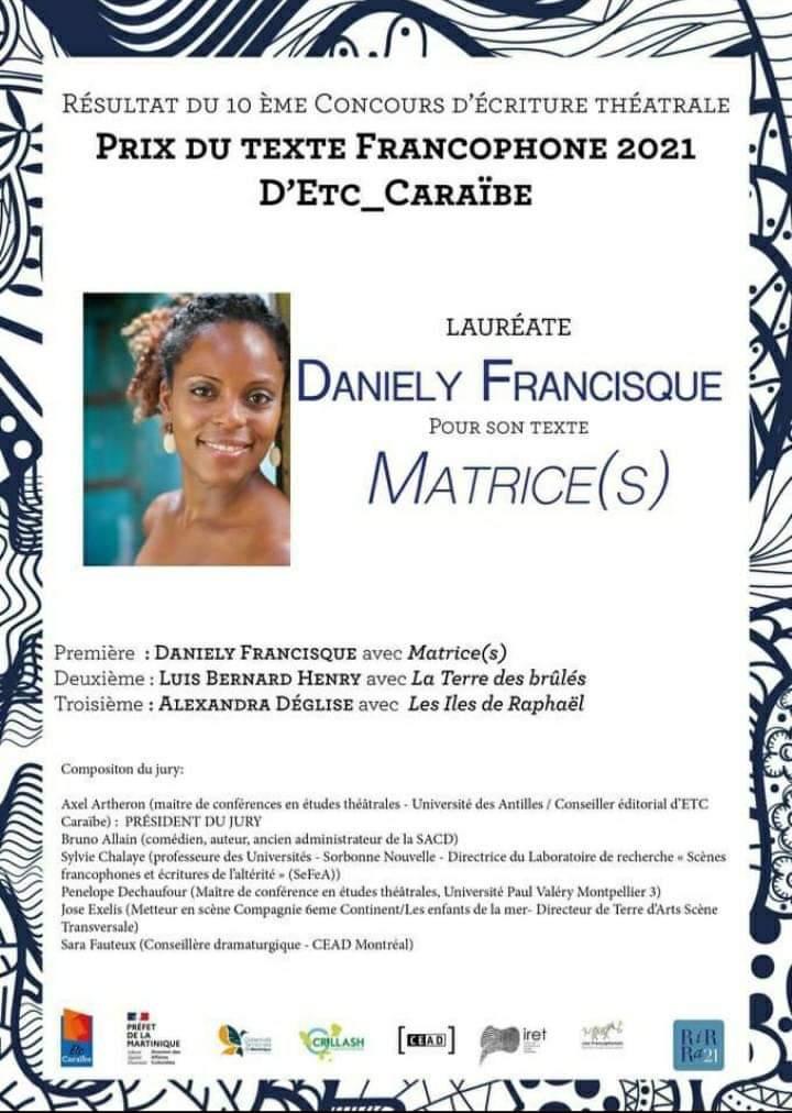 Daniely Francisque remporte le prix du texte francophone 2021 D'Etc-Caraïbe