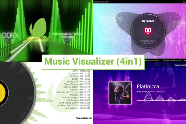 Audio React Music Visualizer (4in1)
