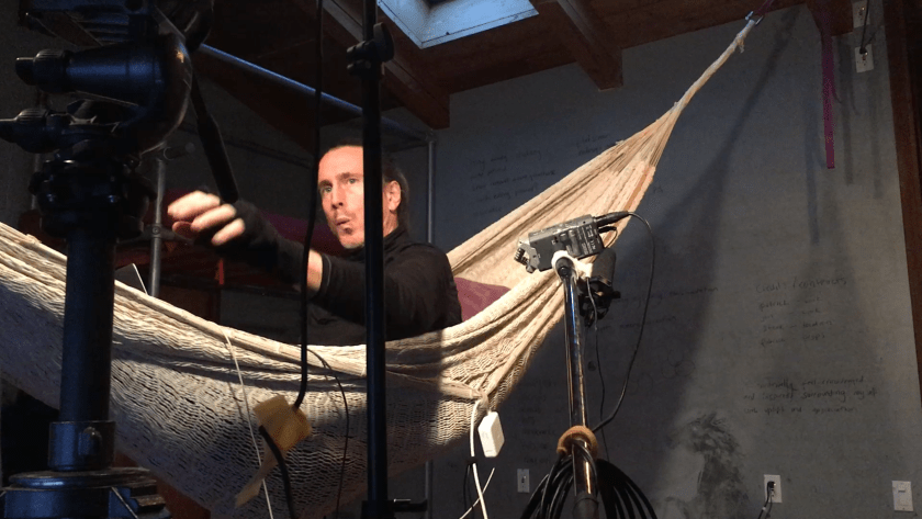 A podcast about movie making and the scifi featurette, Daughter of God, with Director Shri Fugi Spilt, (Dan Kelly). Calm Before, contriving conditions for happiness. Dan prepares to podcast form the hammock in the studio.