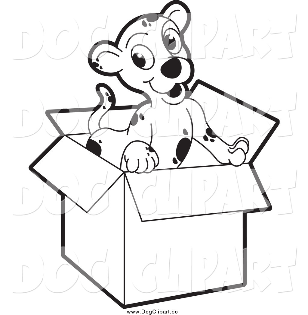 Vector Clip Art Of A Black And White Puppy In A Cardboard