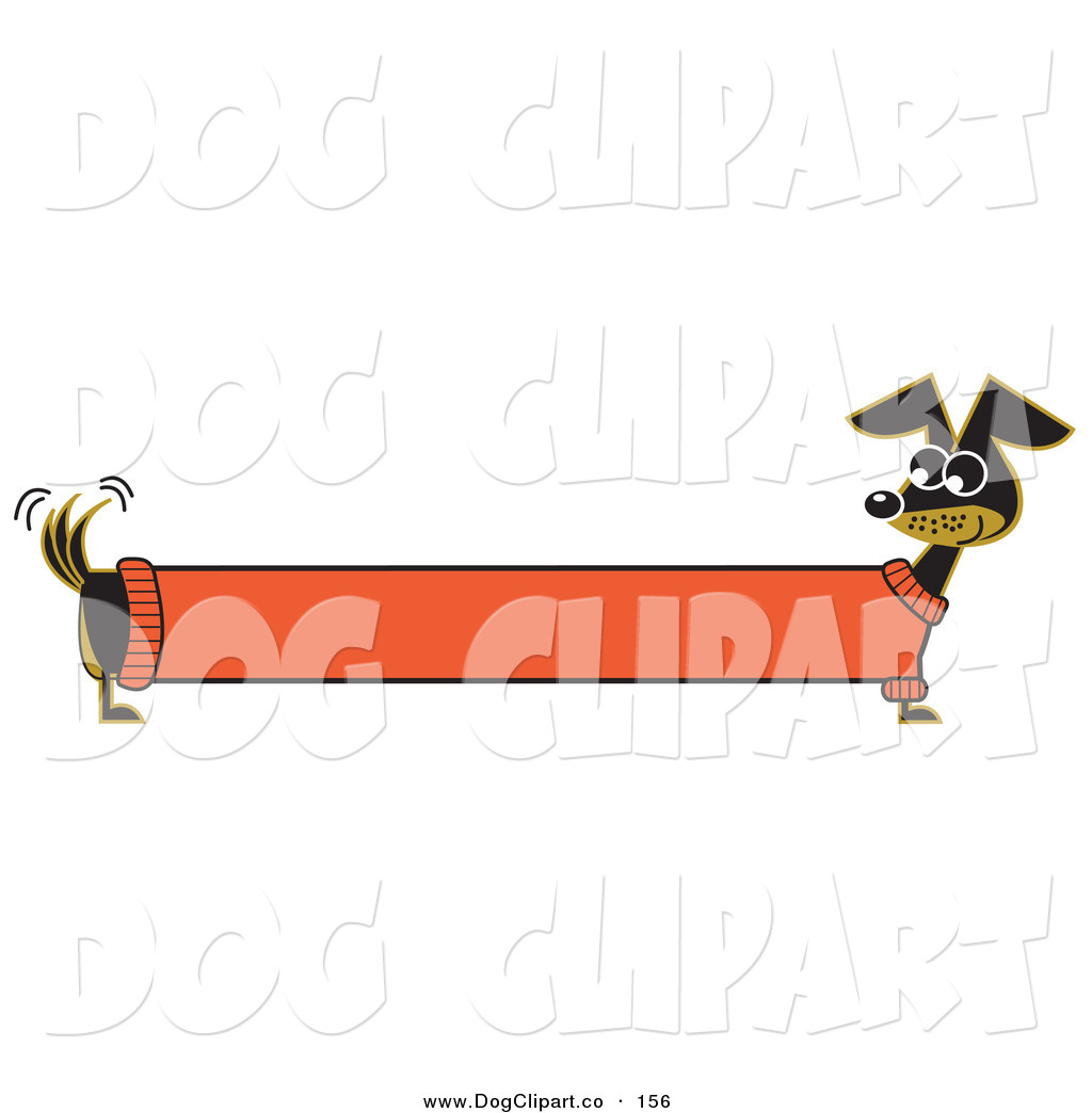 hight resolution of vector clip art of a long stretched black dachshund dog in an orange sweater appearing to be a banner