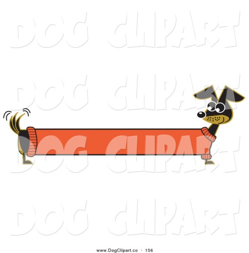 small resolution of vector clip art of a long stretched black dachshund dog in an orange sweater appearing to be a banner