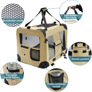 MIEMIE Soft Collapsible Dog Travel Crate Portable Dog Kennel