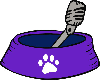 purple dog dish with white paw print on side; microphone sticking out. I wonder what that tastes like.