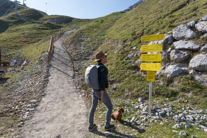 Eligiendo ruta para hacer con Eros en Nordkette.