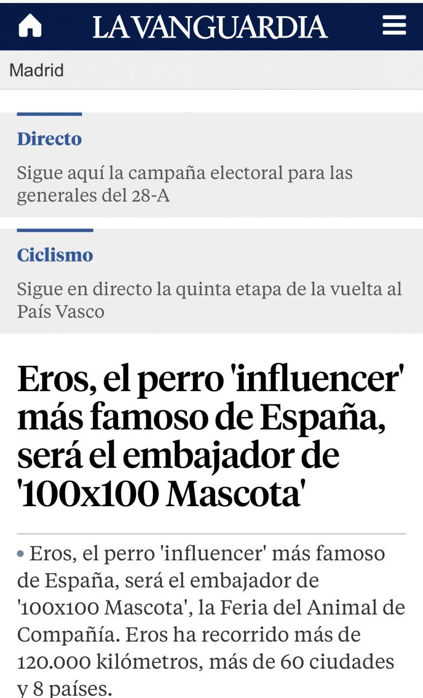 La Vanguardia Eros 100X100Mascota