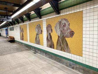 Weimaraners en el metro, mosaicos realizados por Mayer'sche Hofkunstanstanstalt.