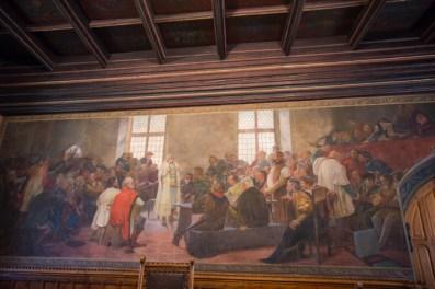 Fresco de grandes dimensiones fresco, recrea el primer nombramiento del rey de Bohemia.