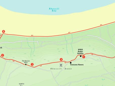 Rhossili Down, Hillend and beach walk