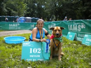 Skyler and Pam, the Dog Runner at the IAMS Doggy Dash in Central Park, after a healthy run together