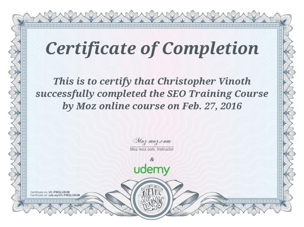 MOZ SEO Certificate