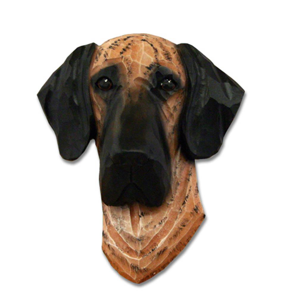 Great Dane Head Plaque Figurine Brindle Uncropped