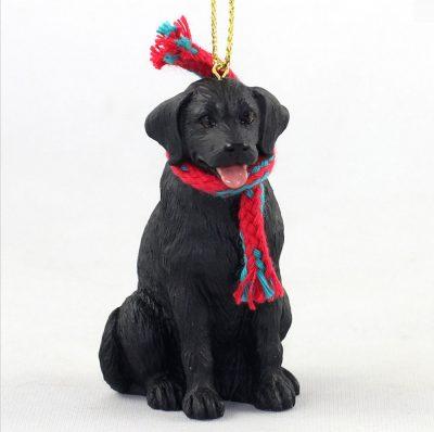 Black Labrador Christmas Scarf Ornament