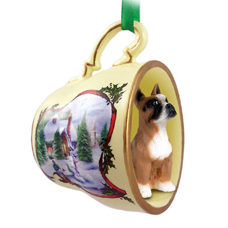 Boxer Ornament Figurine Christmas Holiday Teacup