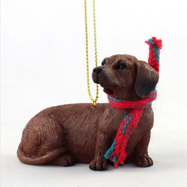 Dachshund Christmas Scarf Ornament Red